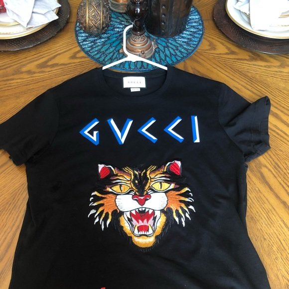 12434f377 Gucci Shirts | T Shirt Angry Cat Sz Large | Poshmark